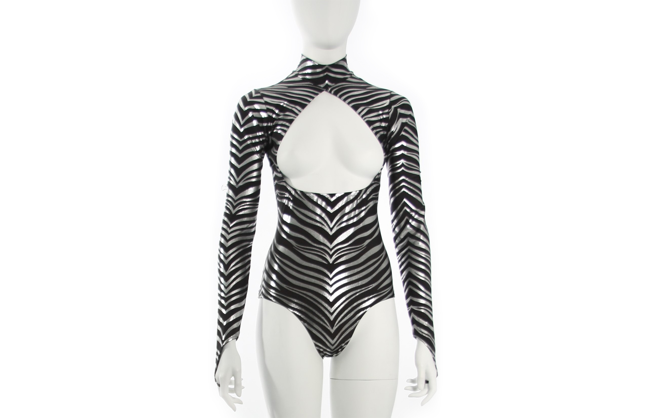 Hologram Print Long Sleeve Open Bust Leotard