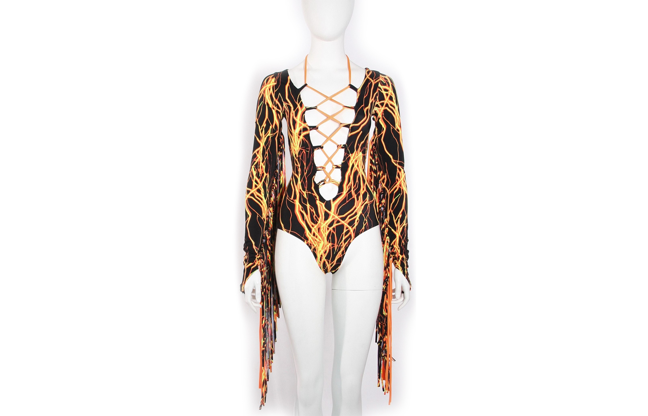 Printed Lace-Up Double Fringe Bodysuit